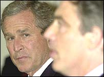 US President George Bush and UK Prime Minister Tony Blair