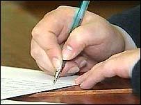 Teacher writing