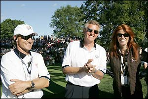 Bernhard Langer Colin Montgomerie and the actress Angie Everhart celebrate a good day for Europe
