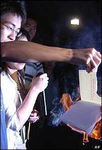 A protestor burns a copy of the Hong Kong constitution
