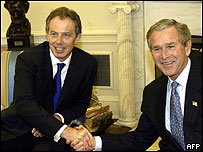 President Bush and Tony Blair shake hands in Oval Office