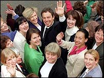 Tony Blair surrounded by women Labour MPs in 1997