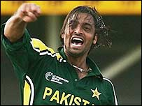 Shoaib Akhtar celebrates one of his four wickets