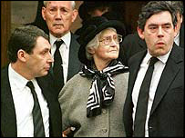 Chancellor Gordon Brown with his mother Elizabeth and brother John, pictured in 1998
