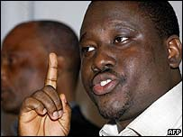 New Forces leader Guillaume Soro in a June 2003 file photo