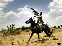 Janjaweed fighter on horseback in Darfur region, 25 April