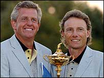 Colin Montgomerie (left) and Bernhard Langer with the Ryder Cup