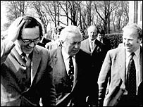 Merlyn Rees with Harold Wilson and Labour MP Stan Orme at Stormont in 1974