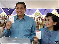 Susilo Bambang Yudhoyono and his wife Kristiani Herawati