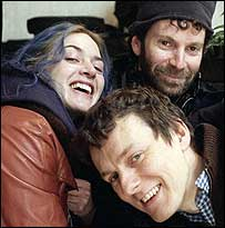 Kate Winslet with Charlie Kaufman and Michel Gondry