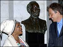 Prime Minister Tony Blair, right, talks to the South African High Commissioner Dr Lindiwe Mabuza whilst visiting South Africa House