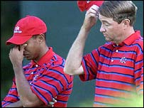 Tiger Woods and Davis Love
