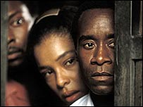 Actors Don Cheadle and Sophie Okonedo starring in Hotel Rwanda