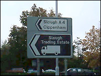 Slough road sign