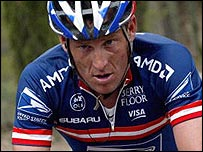 Lance Armstrong in US Postal team colours