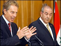 Blair and Allawi in Downing Street