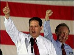 Al Gore and running mate Joe Lieberman