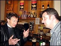 Alex Higgins and BBC journalist John Mathews