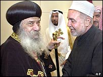 Sheik of al-Azhar mosque, Mohammed Sayed Tantawi (r), and Egypt's patriarch of the Coptic Orthodox Church, Pope Shenouda III
