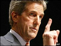 John Kerry delivers an electoral speech at New York University