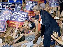 Democratic presidential nominee John Kerry campaigns in Wisconsin. Archive picture