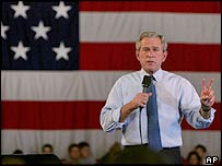 President George W Bush gestures during a campaign stop in Derry, New Hampshire