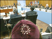 A delegate at anti-Semitism conference in Berlin