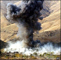 A cluster bomb explodes in Afghanistan