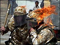 British troops hit by Molotov cocktails during a riot in Basra