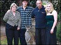 Lulu the Kangaroo with the Richards family (from left to right ) Lynn, Luke, Len and Celeste