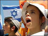 Children from a Gaza settlement demonstrate against Sharon's plans on 11 April