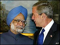 Manmohan Singh (left) and George Bush