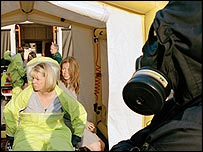 Inside the decontamination unit: A scene from the drama Dirty War