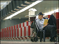 Passenger at Ben Gurion airport Tel Aviv