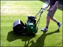 Mowing the grass at Wimbledon