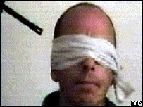 Blindfolded hostage, thought to be Jack Hensley
