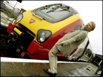 Sir Richard Branson and a Pendolino tilting train
