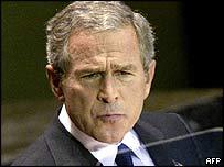 US President George W Bush at the UN