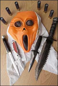 The mask and knives used by Stephenson-Snell