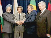Indian PM Singh, Koizumi, Lula, Fischer