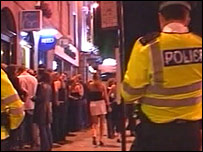 Police at work in city centre
