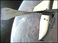 SpaceShipOne on its record-breaking space flight (Image: Scaled Composites)