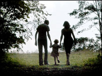 A family walking in the country