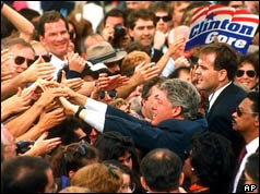 Bill Clinton reaches out to shake hands with the crowd during campaign rally in Philadelphia - October 12 1992
