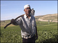 Mr Jin, a farmer in poverty-stricken Ningxia, north west China