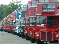 Display of London 'Routemaster' buses