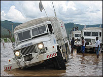 World Food Programme aid trucks are stranded by floods in Haiti