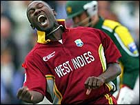 Wavell Hinds took two wickets for the rampant West Indies