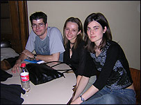 Students at the University of Economics, Budapest, L to R: Mate, Veronika, Mariann