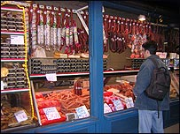 Stall at Nagycsarnok market in Budapest